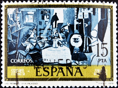velazquez: SPAIN - CIRCA 1978: A stamp printed in Spain shows Las Meninas by Pablo Picasso, circa 1978