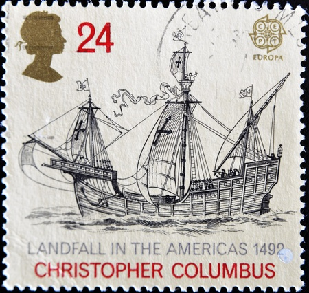 columbus: UNITED KINGDOM - CIRCA 1992: A stamp printed in England, is dedicated to the 500th anniversary of the discovery of America, shows the flag-ship, Christopher Columbus, circa 1992