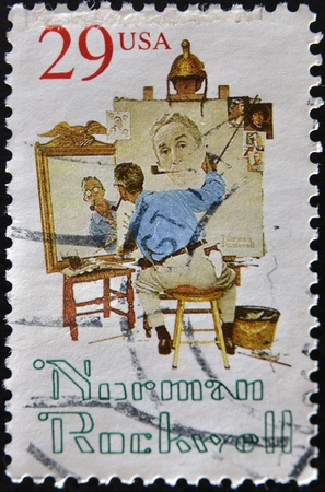 UNITED STATES OF AMERICA -CIRCA 1993: A stamp printed in USA shows Norman Rockwell, circa 1993