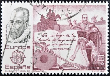 don quixote: SPAIN - CIRCA 1983: A stamp printed in Spain shows Don Quixote by Miguel de Cervantes, circa 1983 Stock Photo