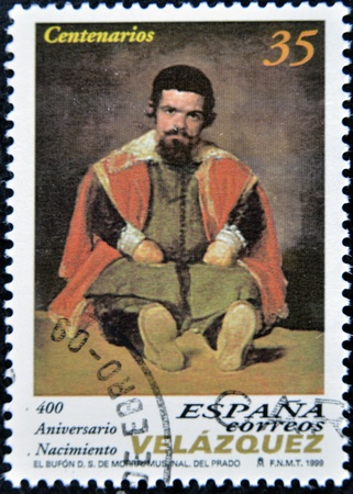 velazquez: SPAIN - CIRCA 1999: A stamp printed in spain shows the painting The Jester Don Sebastian de Morra. by Diego Velázquez, circa 1999