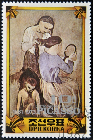 pablo: NORTH KOREA - CIRCA 1973 : A stamp printed in DPR North Korea commemorating the 100 anniversary of the birth of Picasso shows the painting La coiffure, circa 1973