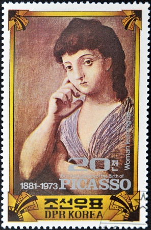 pablo picasso: NORTH KOREA - CIRCA 1973 : A stamp printed in DPR North Korea commemorating the 100 anniversary of the birth of Picasso shows the painting woman leaning up, circa 1973