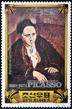 NORTH KOREA - CIRCA 1973 : A stamp printed in DPR North Korea commemorating the 100 anniversary of the birth of Picasso shows the painting portrait of Gertrude Stein, circa 1973
