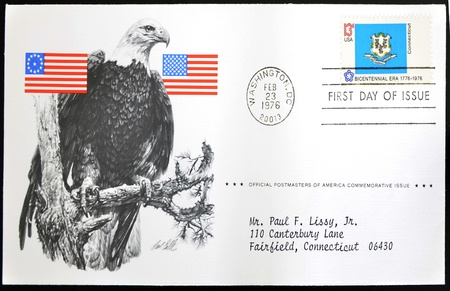UNITED STATES OF AMERICA - CIRCA 1976: A stamp printed in USA show Shield of Connecticut, bicentennial era 1776 - 1976, first day of issue, circa 1976 photo