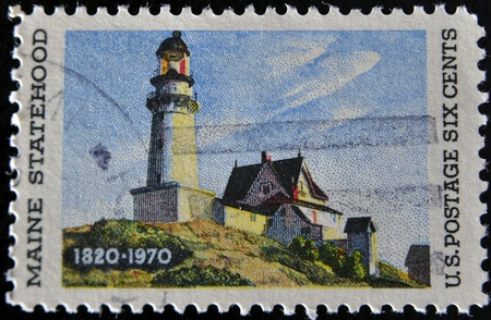UNITED STATES OF AMERICA - CIRCA 1970: A stamp printed in the USA shows Maine Statehood, circa 1970  photo