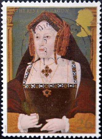 viii: UNITED KINGDOM - CIRCA 1997: A stamp printed in Great Britain shows Catherine of Aragon, wife of king Henry VIII, circa 1997