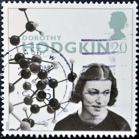 credited: UNITED KINGDOM - CIRCA 1996 : stamp printed in Great Britain shows Dorothy Hodgkin Crowfoot, was a British chemist, credited with the development of protein crystallography, circa 1996  Stock Photo