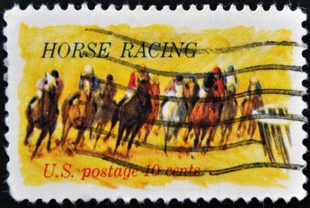 UNITED STATES OF AMERICA - CIRCA 1974 : A stamp printed in the USA shows Horse Racing, circa 1974  Stock Photo - 11277007