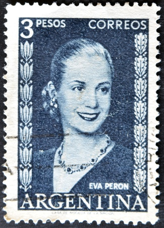 peron: ARGENTINA - CIRCA 1948 : stamp printed in Argentina shows Eva Peron, circa 1948  Editorial