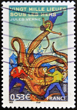 FRANCE - CIRCA 2005: A stamp printed in France shows an image of Twenty Thousand Leagues Under the Sea a novel by Jules Verne, circa 2005