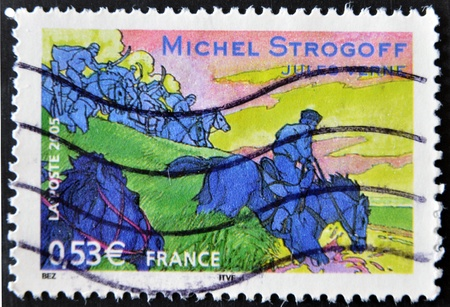 FRANCE - CIRCA 2005: A stamp printed in France shows an image of Michael Strogoff a novel by Jules Verne, circa 2005 Stock Photo