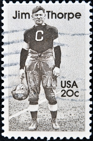 UNITED STATES OF AMERICA - CIRCA 1984: A stamp printed in USA shows Jim Thorpe, circa 1984