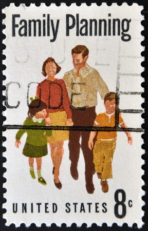 UNITED STATES OF AMERICA - CIRCA 1972: A stamp printed in USA dedicated to family planning, circa 1972 Stock Photo - 11277059