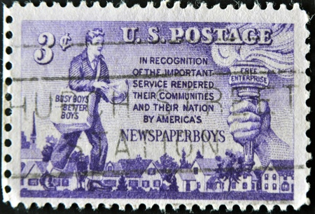 UNITED STATES OF AMERICA - CIRCA 1952: A stamp printed in the USA shows Newspaper Boys Issue, circa 1952  Stock Photo - 11277051