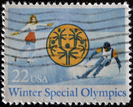 UNITED STATES OF AMERICA - CIRCA 1985: A stamp printed in USA dedicated to Winter Special Olympics in Park City, Utah, circa 1985 Stock Photo - 11277068