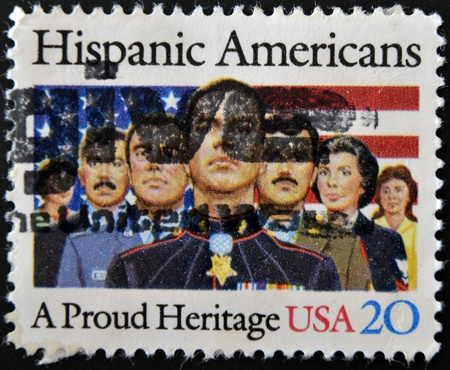 UNITED STATES OF AMERICA - CIRCA 1984: A stamp printed in USA dedicated to Hispanic Americans, a proud heritage, circa 1984