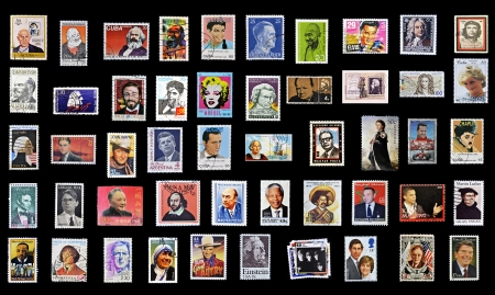 50 stamps of personalities from around the world Stock Photo - 11277073