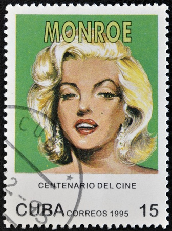 marilyn: CUBA - CIRCA 1995: A stamp printed in Cuba shows Marilyn Monroe, circa 1995