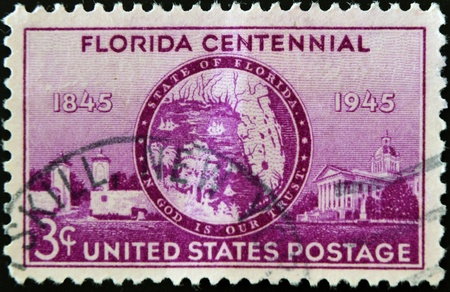 UNITED STATES OF AMERICA - CIRCA 1945: A stamp printed in USA honoring Florida Centennial, circa 1945  Stock Photo - 11438895