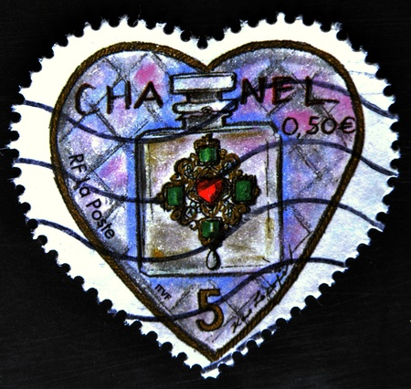 chanel: FRANCE - CIRCA 2003: A stamp printed in France shows Chanel perfume in a heart, circa 2003  Editorial