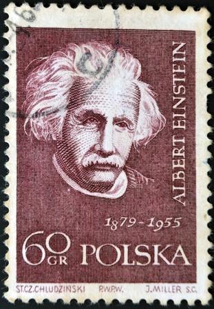 mathematician: POLAND - CIRCA 1959: A stamp printed in Poland shows an image of Albert Einstein (1879-1955), circa 1959