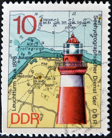 FEDERAL REPUBLIC OF GERMANY - CIRCA 1974: A stamp printed in the Federal Republic of Germany shows image of the Lighthouse Leuchtturm Buk 1878, circa 1974.  photo