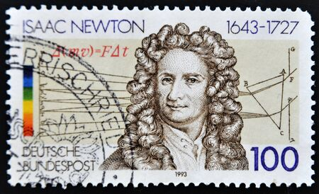 isaac newton: GERMANY - CIRCA 1993: A stamp printed in Germany shows Isaac Newton, circa 1993