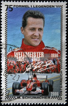 AUSTRIA - CIRCA 2006: A stamp printed in Austria shows Michael Schumacher, circa 2006  Stock Photo - 11438920