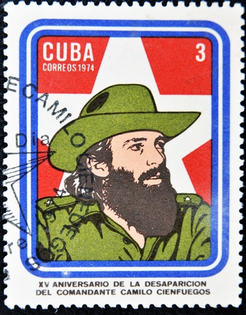 CUBA - CIRCA 1974: A Stamp printed in Cuba devoted 15 years of disappearance of Comandante Camilo Cienfuegos, circa 1974  Stock Photo - 11652970