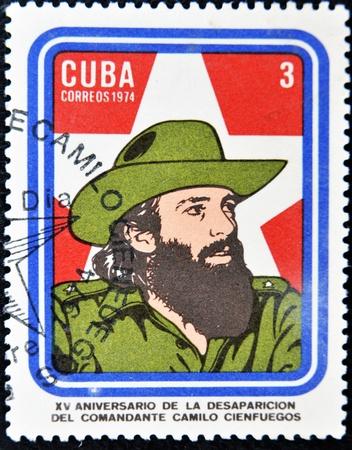 CUBA - CIRCA 1974: A Stamp printed in Cuba devoted 15 years of disappearance of Comandante Camilo Cienfuegos, circa 1974  Stock Photo - 11652970