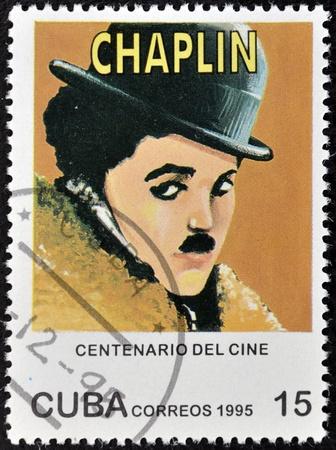 chaplin: CUBA - CIRCA 1995: A stamp printed in Cuba shows Charles Chaplin, Charlot, circa 1995  Editorial