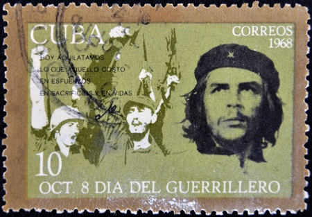 CUBA - CIRCA 1968 : A stamp printed in Cuba shows Ernesto Che Guevara- legendary guerrilla, circa 1968