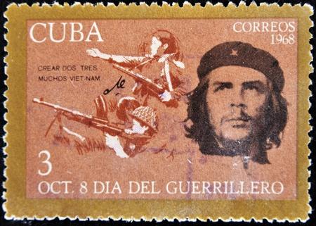 CUBA - CIRCA 1968 : A stamp printed in Cuba shows Ernesto Che Guevara- legendary guerrilla, circa 1968