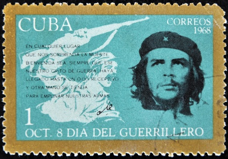 CUBA - CIRCA 1968 : A stamp printed in Cuba shows Ernesto Che Guevara- legendary guerrilla, circa 1968  Stock Photo - 11652988
