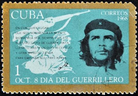 CUBA - CIRCA 1968 : A stamp printed in Cuba shows Ernesto Che Guevara- legendary guerrilla, circa 1968  Stock Photo - 11652988