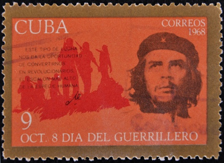 CUBA - CIRCA 1968 : A stamp printed in Cuba shows Ernesto Che Guevara- legendary guerrilla, circa 1968  Stock Photo - 11652962