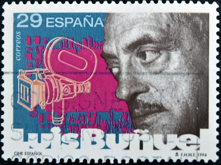 luis: SPAIN - CIRCA 1994: A stamp printed in Spain shows Luis Bu�uel, circa 1994  Editorial