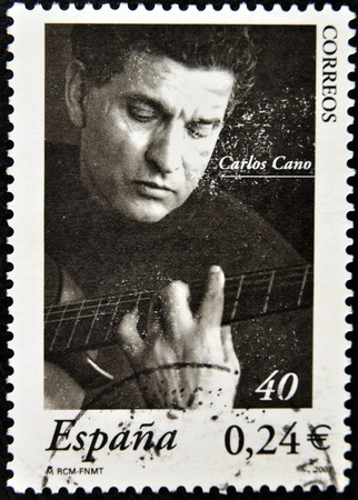 cano: SPAIN - CIRCA 2001  A stamp printed in Spain shows Carlos Cano, circa 2001  Editorial
