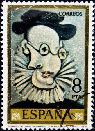 picasso: SPAIN - CIRCA 1978: A stamp printed in Spain shows the painting Portrait of Jaime Sabartes by Pablo Picasso, circa 1978
