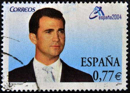 heir: SPAIN - CIRCA 2004  A stamp printed in Spain shows the Prince of Asturias, Felipe de Borb�n, heir to the crown of Spain, circa 2004  Editorial