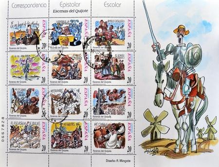 philatelist: SPANIEN - circa 1998 Eine Briefmarke gedruckt in Spanien zeigt, welche verschiedene Szenen aus Don Quixote, circa 1998 Editorial