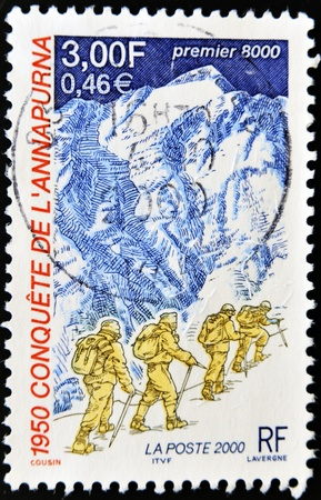 FRANCE - CIRCA 2000  A stamp printed in France dedicated to the conquest of Annapurna in 1950