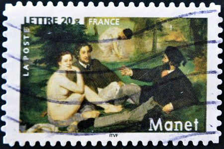 FRANCE - CIRCA 2006  A stamp printed in France shows the painting  The Luncheon on the Grass  by Edouard Manet, circa 2006