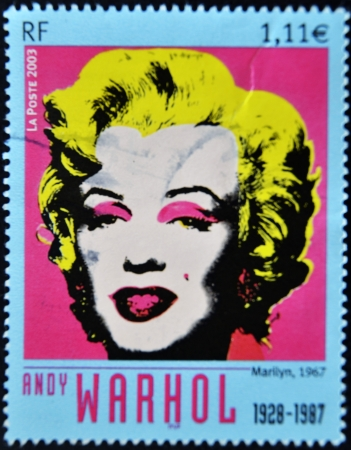 andy warhol: FRANCE - CIRCA 2003: A stamp printed in France shows Marilyn Monroe by Andy Warhol, circa 2003