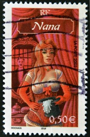 nana: FRANCE - CIRCA 2003  A stamp printed in France shows drawing of  Nana  Emile Zola s novel, circa 2003 Editorial