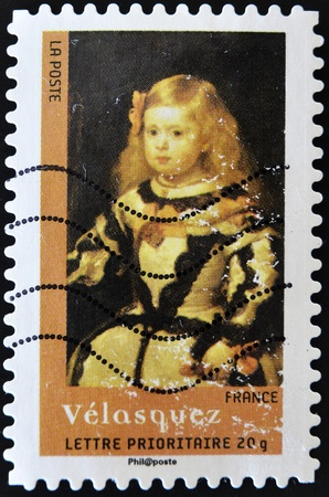 velazquez: FRANCE - CIRCA 2008: A stamp printed in France shows the painting The Infanta Margarita by Velazquez, circa 2008
