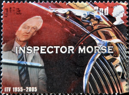dexter: UNITED KINGDOM - CIRCA 2005  A stamp printed in Great Britain shows inspector Morse, circa 2005 Editorial