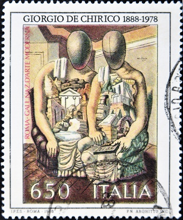 metaphysics: ITALY - CIRCA 1988: A stamp printed in Italy shows the work Archaeologists in Giogio de Chirico, National Gallery of Modern Art in Rome, circa 1998  Editorial