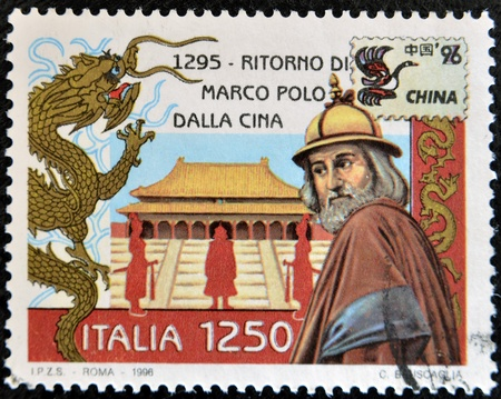 ITALY - CIRCA 1996: A stamp printed in Italy shows Marco Polos return from China, circa 1996